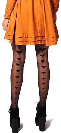 b09a77b67db76 Gipsy Hearts Back Seam Tights (Black): Amazon.co.uk: Clothing
