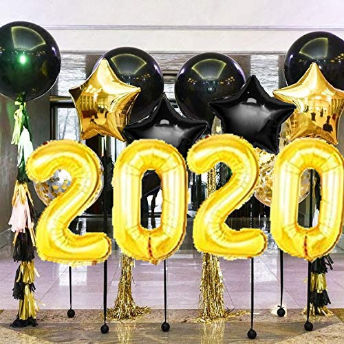 DOYOLLA 40inch Black and Gold 2020 Balloons and Tissue Paper Tassels Garland Decorations for 2020 New Years Eve Party, Graduation, Retirement Party, Anniversary Decorations and Supplies