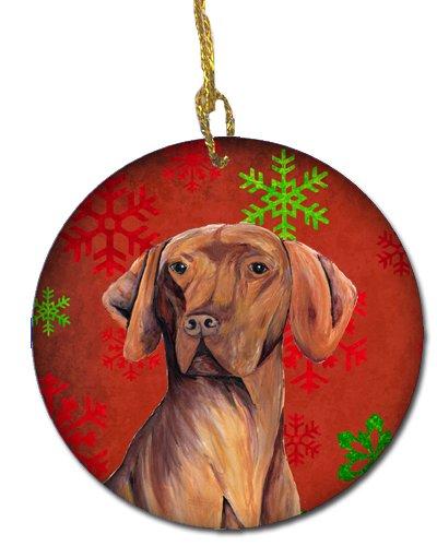 Caroline's Treasures SC9418-CO1 Vizsla Red Snowflakes Holiday Christmas Ceramic Ornament SC9418, 3 in, Multicolor