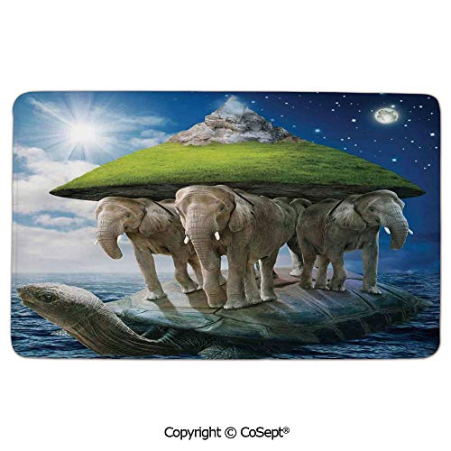 Doormat Entrance Floor Rug Indoor Mat Non-Slip Flannel,Turtle Carrying Elephants with The Earth on Their Backs Cosmic,Comfortable Soft SurfaceGreen Blue White