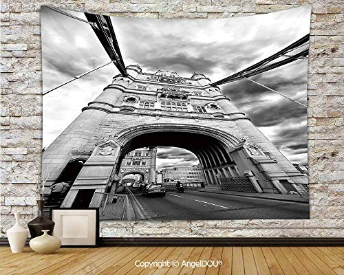 AngelDOU Modern Camping Tent Travel Mattress Tapestry Tower Bridge London England Urban Street Traffic European Historical Picture Polyester Thin Tapestry.W59xL51.2(inch) -