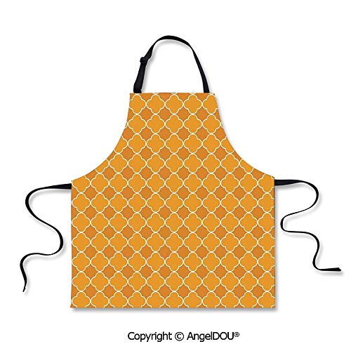 SCOXIXI Kitchen Bib Apron with Adjustable Neck Clover Shape Girih Pattern Eastern Trellis Tradition Floral Oriental Arabic for Grill BBQ Cooking Cosplay Party.