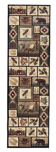 Rugs 4 Less Collection Rustic Western and Native American Wildlife and Wilderness Cabin Lodge Accent Area Rug – R4L 386 (2×7)