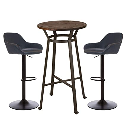 Wondrous Glitzhome Rustic Steel Bar Table Round Wood Top Dining Room Pub Table Furniture Blue Stool Table Andrewgaddart Wooden Chair Designs For Living Room Andrewgaddartcom