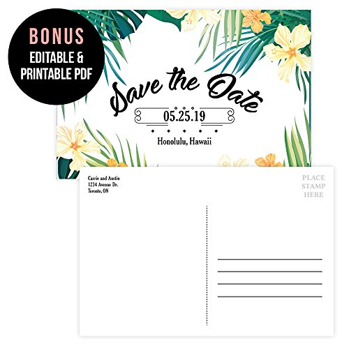 Set of 25 Tropical Party Save The Date Postcards, Hawaiian Invitation, Wedding Rehearsal Party, Engagement Party, Bachelorette, Bachelor, Birthday, Reception Party, Anniversary, - Hawaiian Invitations Wedding