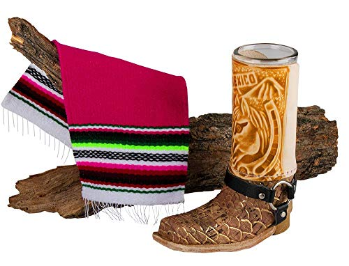 Mexican Artisan Leather Texan Boot Shot Glass Mini Size by El Paso Designs (1-Pack, Assorted) (Cowbow Boot)]()