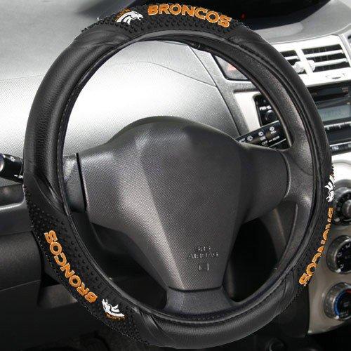 Fremont Die NFL Denver Broncos Massage Grip Steering Wheel Cover, Black, One -