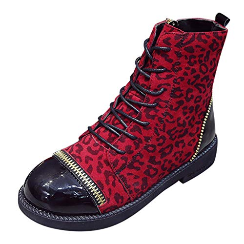 Limsea Women Classic Boots Fashion European Ins Style Leopard Zip Round Toe Shoes 7.5 Red -