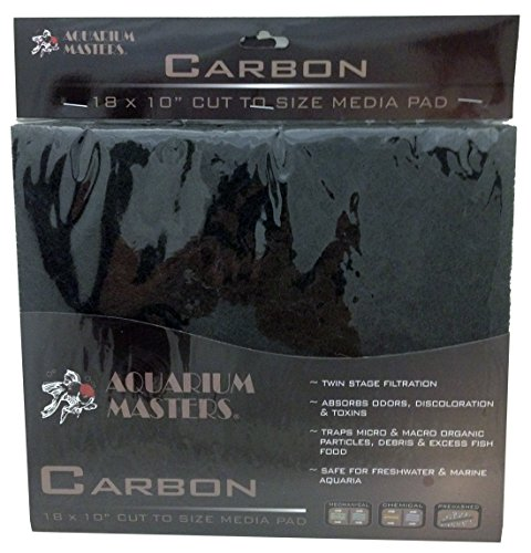 Professional Super Activated Carbon Pad, 18 Inch by 10 Inch, Options of Nitrate, Ammonia, Phosphate Remover Pads, and Dual Bonded Pads for Fresh Water & Saltwater Aquariums, Terrariums & Hydroponics! ()