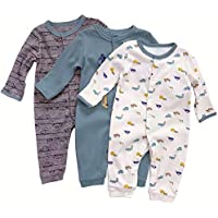 3-Pack Aablexema Newborn Infant Long Sleeve Jumpsuit