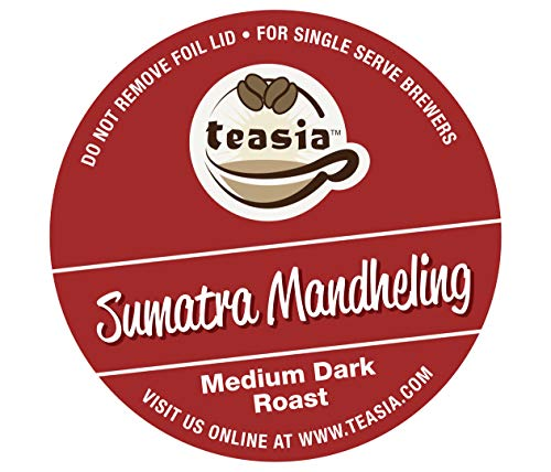 Teasia Coffee, Medium Dark Roast Sumatra Mandheling (48-count), Single Origin Fair Trade All Natural Capsules Compatible with Keurig K Cup Brewers