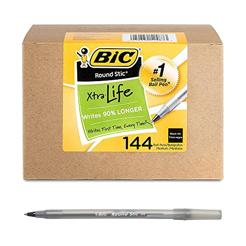 BIC Round Stic Xtra Life Ballpoint Pen, Medium Point (1.0mm), Black, 144-Count