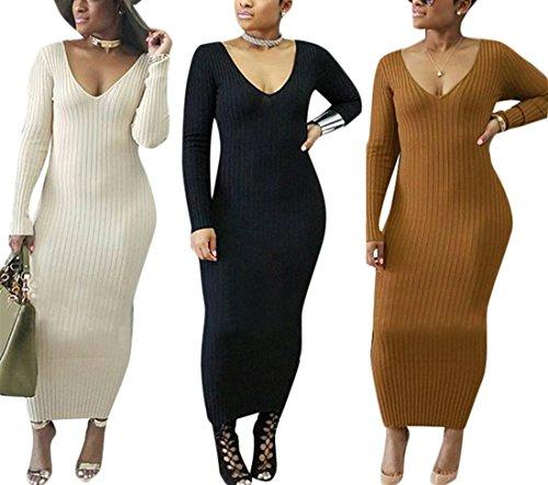 Womens Fall Winter Deep V-Neck Backless Long Sleeve Knitting Basic Dress Clubwear