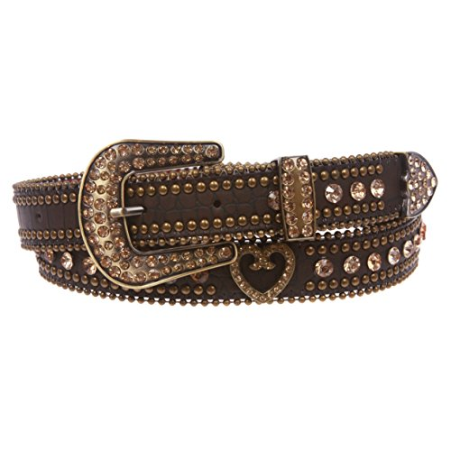 Snap On Western Crocodile Print Rhinestone Studs Heart Ornaments Leather Belt, Brown | s/m 32''- 34'' - Crocodile Belt Strap