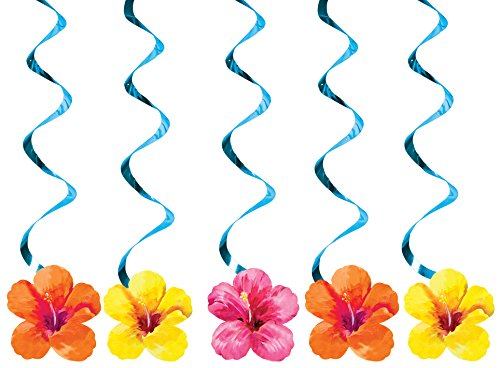 Creative Converting 5 Count Dizzy Danglers Hanging Party Decoration, Heavenly Hibiscus