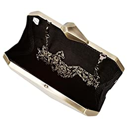 BMC Womens Smoked Gold Colored Alloy Metal Abstract Stone Cut Hardcase Fashion Clutch Shoulder Chain Handbag