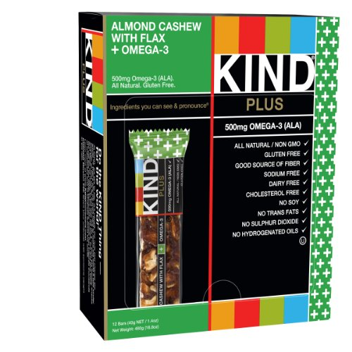KIND Bars, Almond Cashew + Omega-3, Gluten Free, 1.4 Ounce Bars, 12 Count