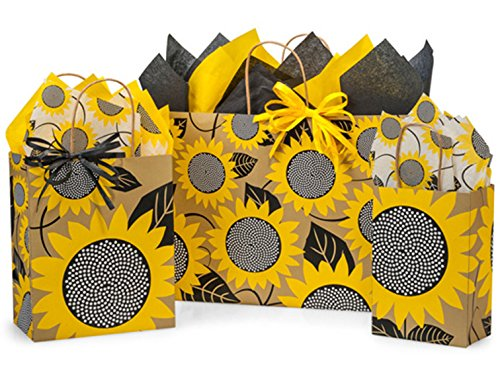 Gift Bags, Assorted Sizes, Bundled with Coordinating Tissue Paper and Raffia Ribbon (Sunflower Fields) -