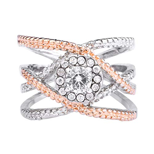 - Silver Elegant Flower Engagement Ring with Clear Fine Jewelry Gift for Women Size 6-10 (Gold, 6)