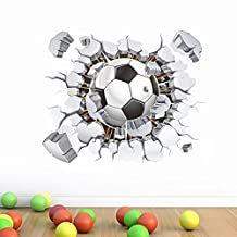 AWAKINK Soccer Ball Football Broken 3D Decorative Peel Vinyl Wall Stickers Wall Decals Removable Decors for Living Room Kids Room Baby Nursery Boys Bedroom