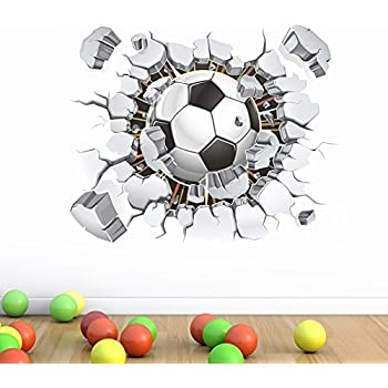 Soccer Ball Football Broken 3D Decorative Peel Vinyl Wall Stickers Wall  Decals Removable Decors For Living Part 45