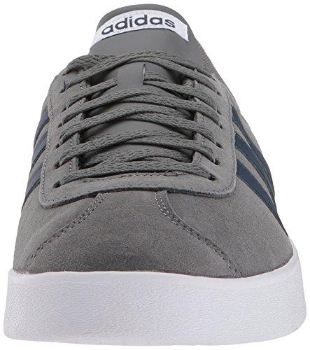 adidas Men's VL Court 2.0 Casual Shoe Grey Four Fabric, Collegiate Navy, Ftwr White