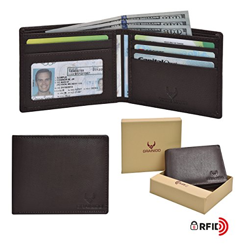 Bifold Leather Mens Wallet with RFID secure-Genuine Leather Handmade Wallet with 4 credit card slots + 1 ID slots and 2 note pockets including GIFT (Two Currency Pockets)