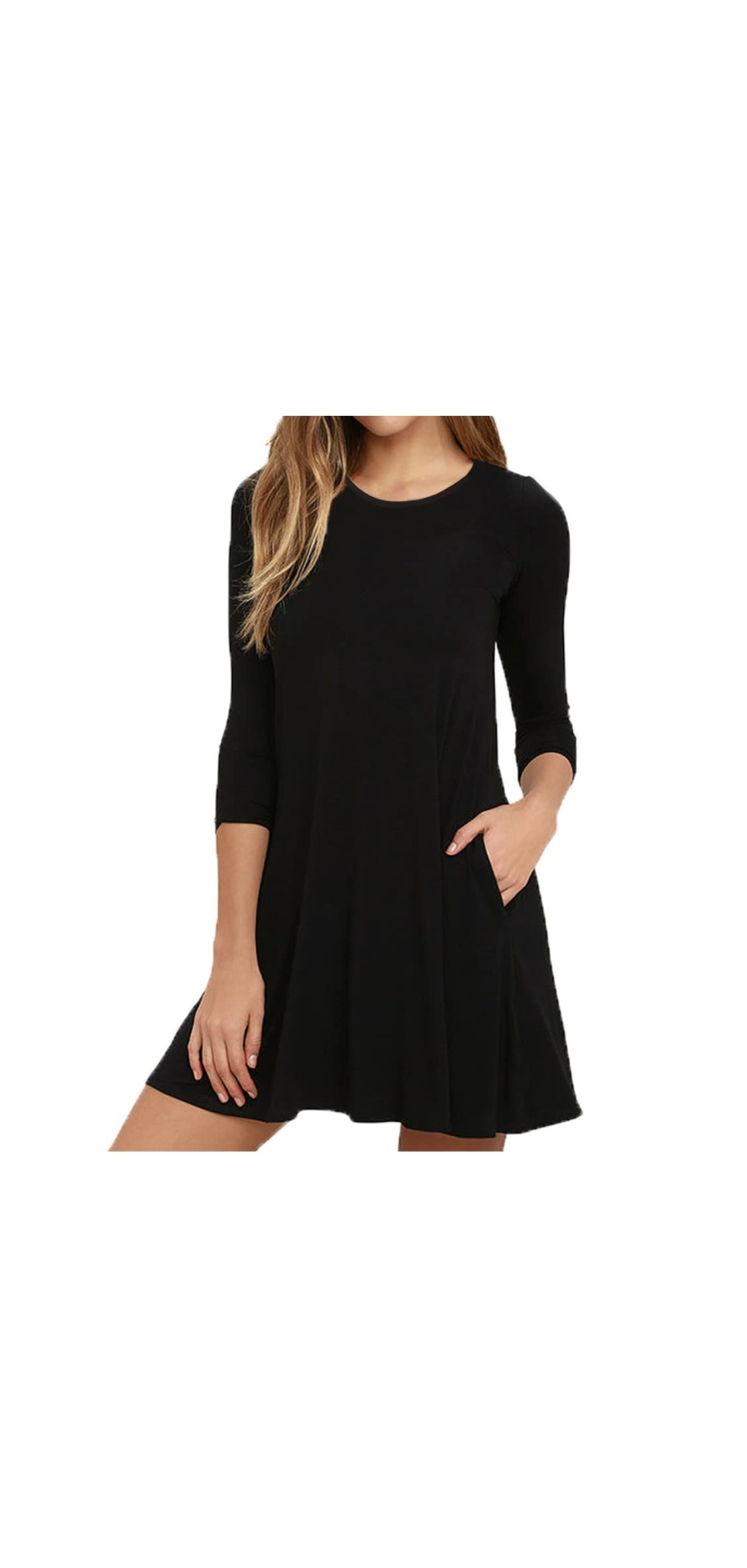 Womens Round Neck / Sleeves A-line Casual Tshirt Dress