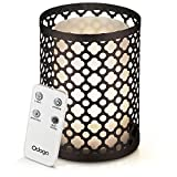 Odoga Aromatherapy Essential Oil Diffuser with Decorative Iron Cover, 100 ml Ultrasonic Quiet Cool Mist Humidifier with Warm White Color Candle Light Effect, Remote Control & Low Water Auto Shut-Off