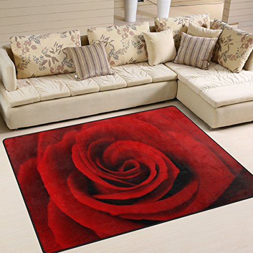 ALAZA Area Rug 7'x5' Close Up Of Red Rose, Non-Slip Polyester Floor Mat Carpet for Living Dining Bed Room