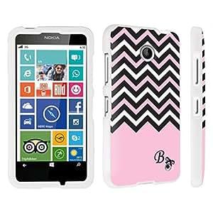 DuroCase ? Nokia Lumia 630 Hard Case White - (Black Pink White Chevron B)
