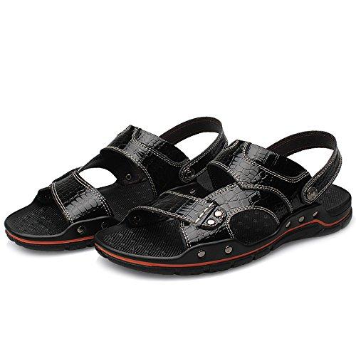 Grandi Casual Atletica Dimensioni Di Trekking Black Slip Outdoor Spiaggia Scarpe Da Open On Da Sandali Da In Infradito Pantofole Toe Da Pelle Uomo PCqC8X