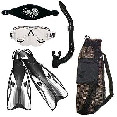 Snorket Package Fins Mask Snorkel Mask Strap Mesh Bag Complete Snorkeling Set Swimming Diving Sopras Sub
