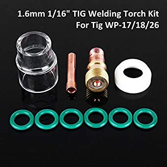 US 10Pcs TIG Welding Torch Stubby Gas Lens #12 Pyrex Cup Kit for WP-17//18//26