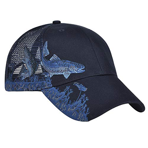 Unisex Hunting Fishing Cap Adjustable 3D Embroidery Baseball Hat with Air Mesh Back (Mesh Back Adjustable Cap)
