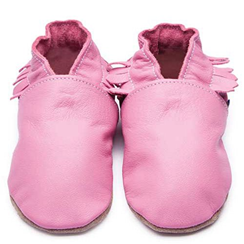 Inch Blue Girls Boys Luxury Leather Soft Sole Pram Shoes - Moccasin Rose Pink