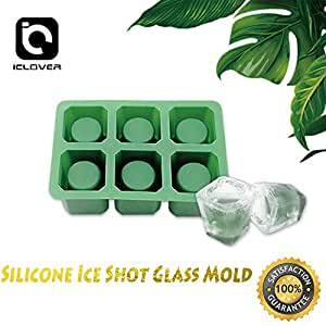 IC ICLOVER Silicone Ice Shot Glass Mold, 6 cups Square Green Ice Cube Tray,Jelly Tray ,Chocolate Mold ,Food Grade Silicone Ice Shot