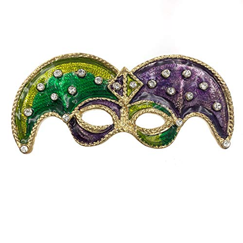 Large Mardi Gras Mask Purple Green Yellow Rhinestones Pin Brooch (Curved Gold -