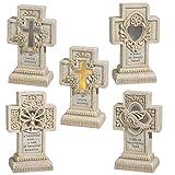 Grasslands Road 5'' Cement Light up Pedestal Cross (8 Pack), Medium, Assortment