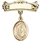 14kt Yellow Gold Baby Badge with St. Aaron Charm and Arched Polished Badge Pin 7/8 X 3/4 inches