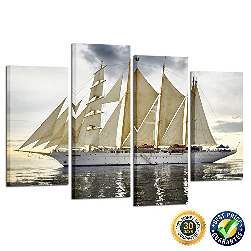 Picture Sailboat (Kreative Arts Canvas Print Wall Art Painting For Home Decor Sailboat 4 Pieces Panel Paintings Modern Giclee Stretched And Framed Artwork Seascape Pictures Photo Prints On Canvas For Living Room Decor)