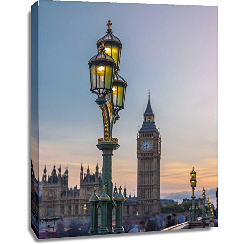 Print Mint The Canvas Print Wall Art - Assaf Frank - Street lamp with Big Ben, London, UK - European Architecture Places Cityscape Artwork on Canvas Stretched Gallery Wrap. Ready to Hang - 36x48″