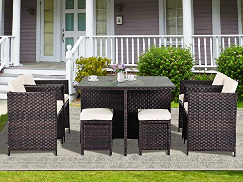 Rhomtree Outdoor Wicker Dining Set 9 Pieces Patio Rattan Dining Table And Chairs Ottoman With Cushion Conversation Set Outdoor Furniture For Garden Poolside Lawn Backyard Balcony 9 Pieces Beachfront Decor
