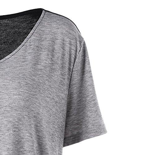 grande asymtrique taille T Pull Femme encolure shirt en Noir V Malloom qCf7aEwxcc