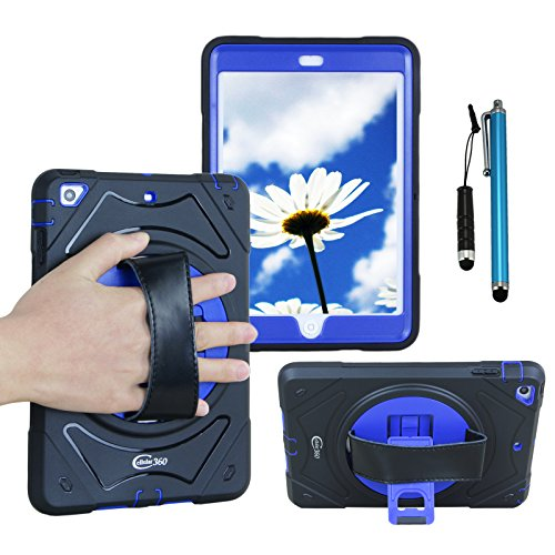 Cellular360 Shockproof Case for Apple iPad Mini 1 iPad Mini 2 iPad Mini 3 , Protective and Handy Case with 360 Degrees Rotatable Kickstand and Leather Handle (Black/Blue) by Cellular360