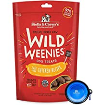 Stella & Chewy's Freeze Dried Raw Dog Food,Wild Weenies Treat Snacks 11-Ounce Bag with Hotspot Pets Food Bowl - Made in USA (Chicken)