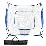 Promover Baseball and Softball Practice Net 7' x 7' for Practice Hitting, Pitching, Batting and Catching(Blue)