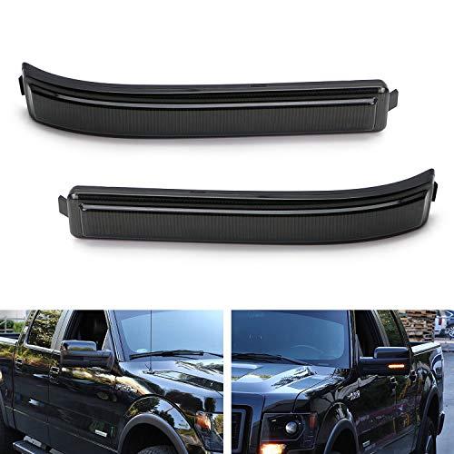 iJDMTOY (2) Smoked Lens Amber LED Side Mirror Marker Lights For 09-14 Ford F150 & 10-14 SVT Raptor