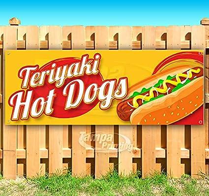 Teriyaki Hot Dogs cartel de vinilo resistente de 13 onzas ...