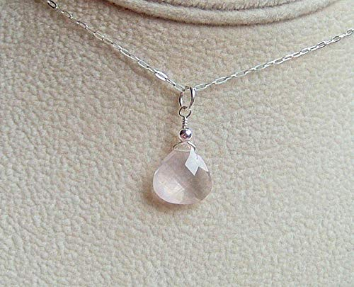 (Cute Pink Rose Quartz Briolette Pendant 18 Inch Sterling Silver Necklace Gift Idea)